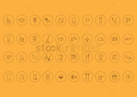 Stove : Collection of kitchen icons