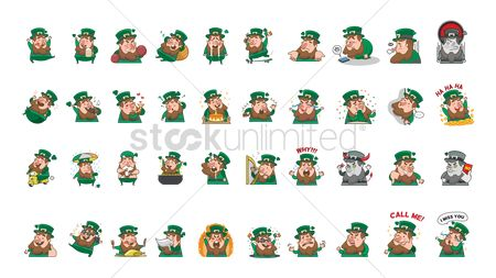 Dancing : Collection of leprechaun facial expressions