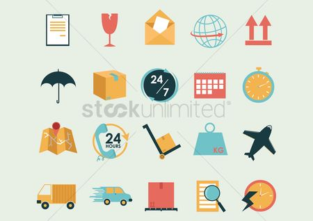Aeroplanes : Collection of logistic and shipping icons