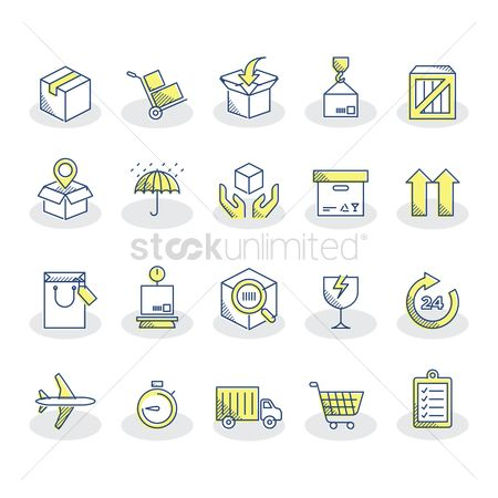 Trolley : Collection of logistic icons