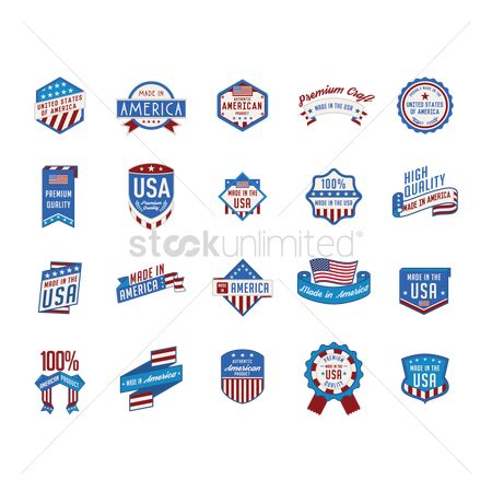 Insignias : Collection of made in america labels