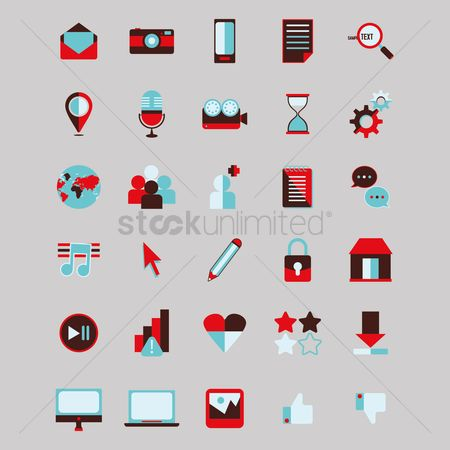 Sand clock : Collection of media icons