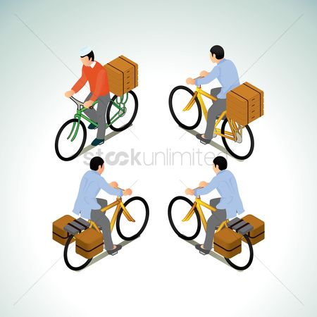 Bicycle : Collection of men riding bicycle with box
