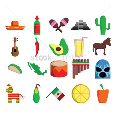 Green capsicum : Collection of mexico icons