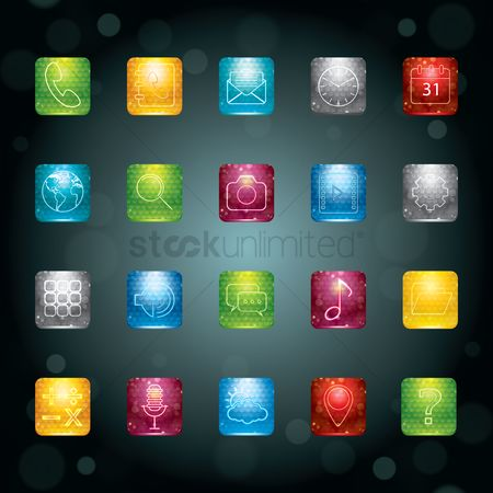 Microphones : Collection of mobile app icons