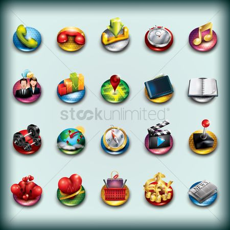 Online shopping : Collection of mobile app icons