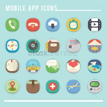 Calling : Collection of mobile app icons