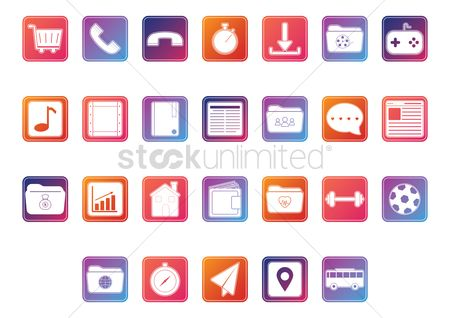 Icons news : Collection of mobile application icons