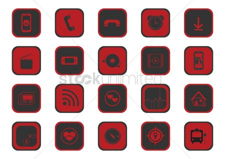 Multimedias : Collection of mobile application icons