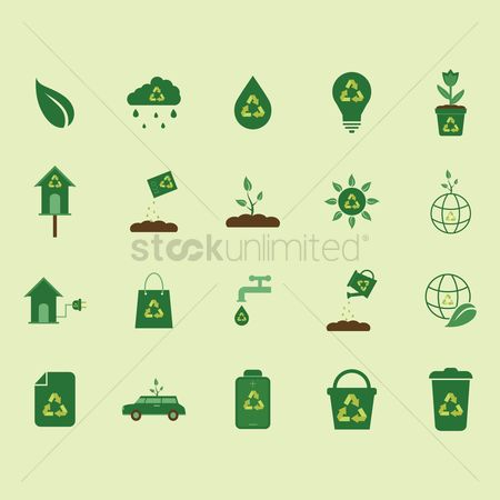 Cars : Collection of nature icons with recycle symbol