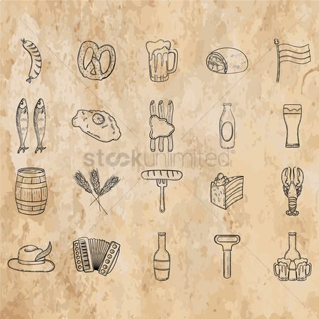 Beer mug : Collection of octoberfest icons