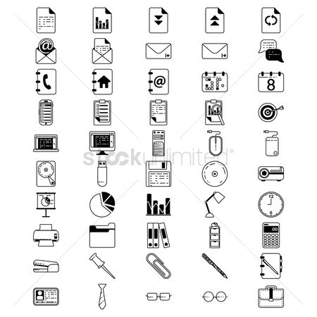 Address : Collection of office icons