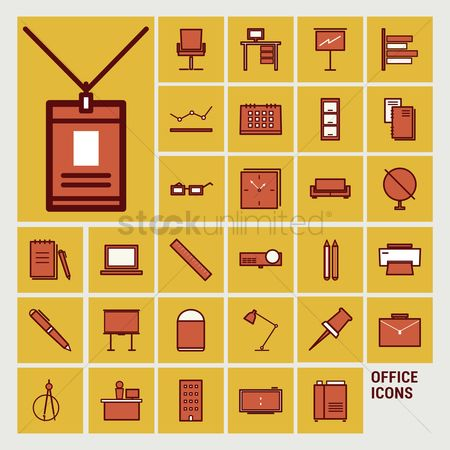 Wooden sign : Collection of office icons