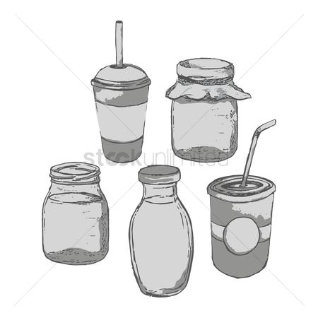 Take away cup : Collection of paper cups and glass jars