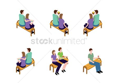 French fries : Collection of people sitting on bench