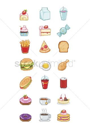 French : Collection of pixelated food icons