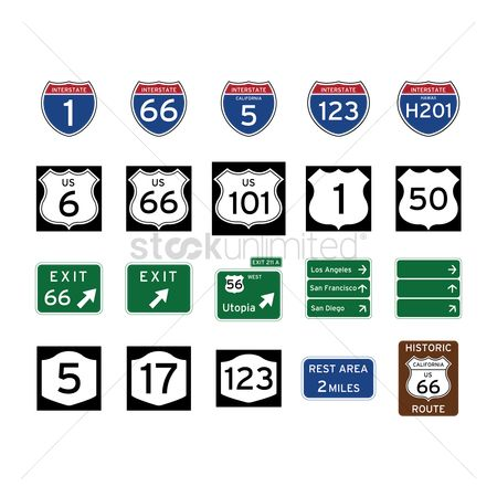 17 : Collection of road signs
