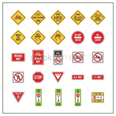 Warnings : Collection of road signs