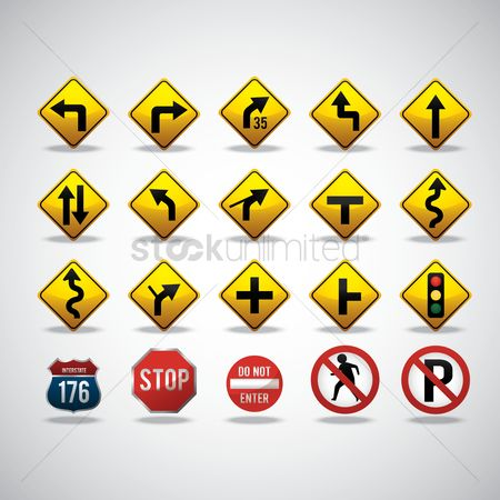 Caution : Collection of road signs