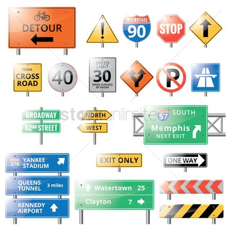 Transport : Collection of road signs