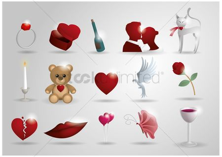 Heart shape : Collection of romance related objects