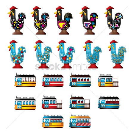 Tram : Collection of rooster of barcelos and trams
