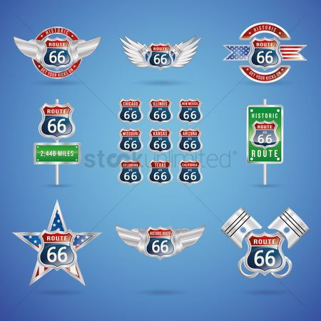 United states : Collection of route 66 badges