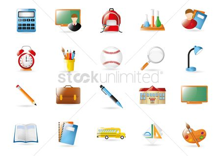 Magnifying : Collection of school icons