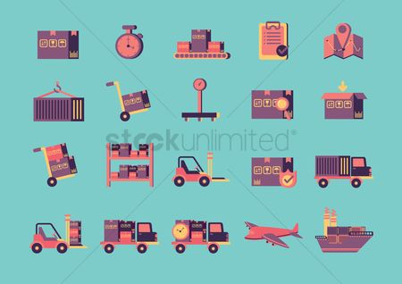 Lorries : Collection of shipping and logistic icons