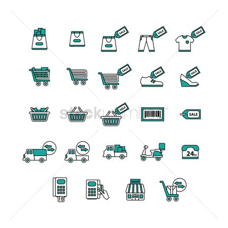 Scooters : Collection of shopping icons
