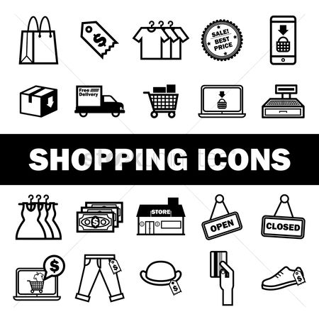 Hand truck : Collection of shopping icons