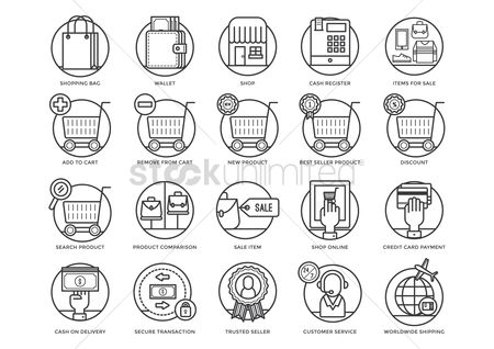 Trolley : Collection of shopping icons