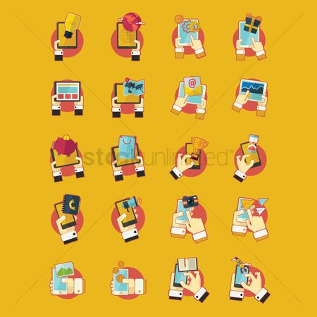 Notebooks : Collection of smartphone technology icons