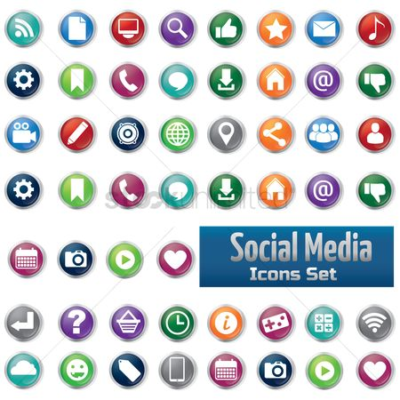 Phones : Collection of social media icons