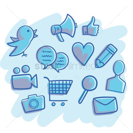 Email : Collection of social media icons
