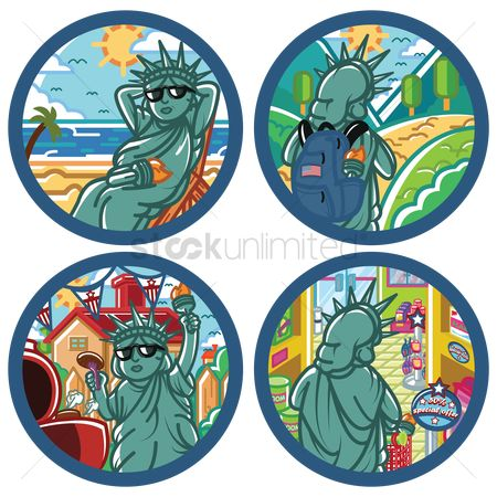 Journeys : Collection of statue of liberty labels