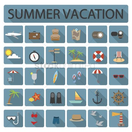 Lighthouses : Collection of summer vacation icons