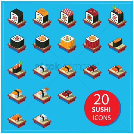 Japanese cuisines : Collection of sushi icons