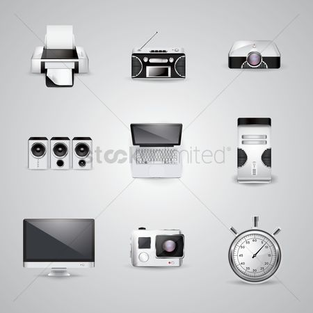 Screens : Collection of technology icons