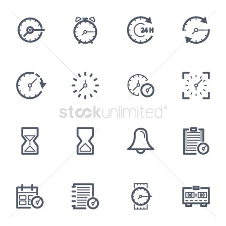 Wristwatch : Collection of time icons
