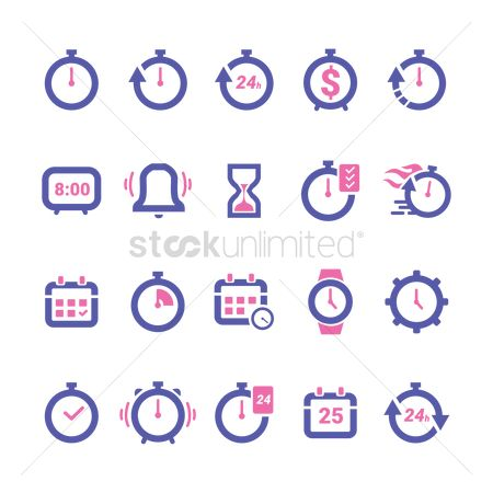 Wristwatch : Collection of timing icons