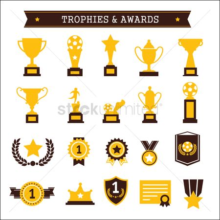 Copy space : Collection of trophies and awards
