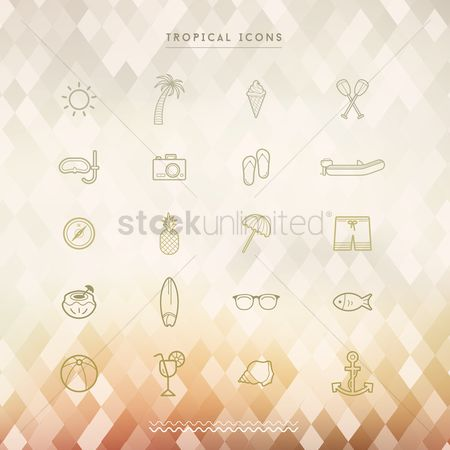 Nautical : Collection of tropical icons