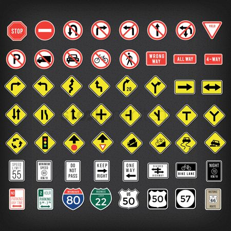 Caution : Collection of us road signs