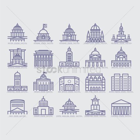 United states : Collection of usa buildings