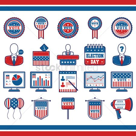 Check mark : Collection of usa election icons
