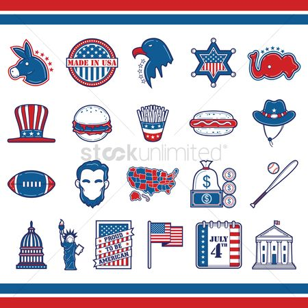 United states : Collection of usa icons