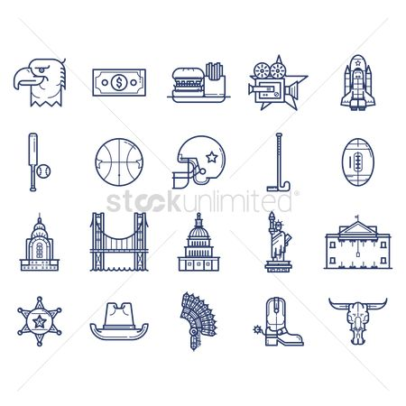 French : Collection of usa icons