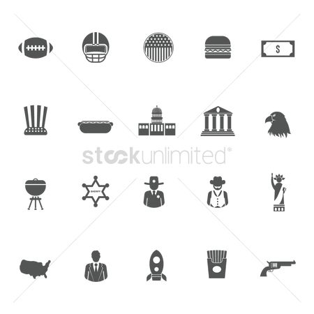 White house : Collection of usa icons