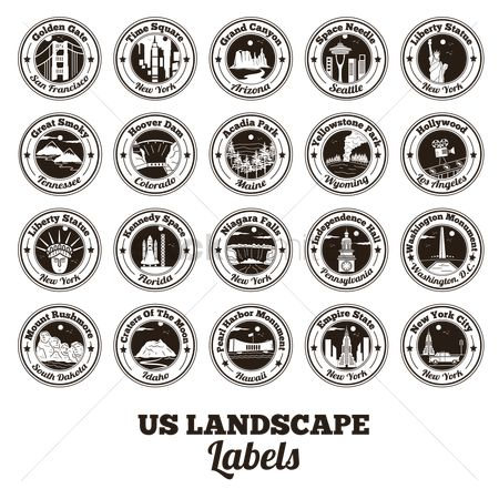 United states : Collection of usa landscapes labels